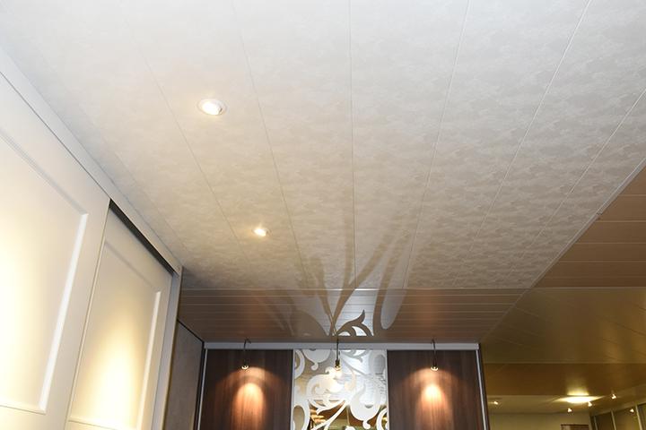 Panelenplafonds - Stucco geschuurd panelenplafond met microvellingkant