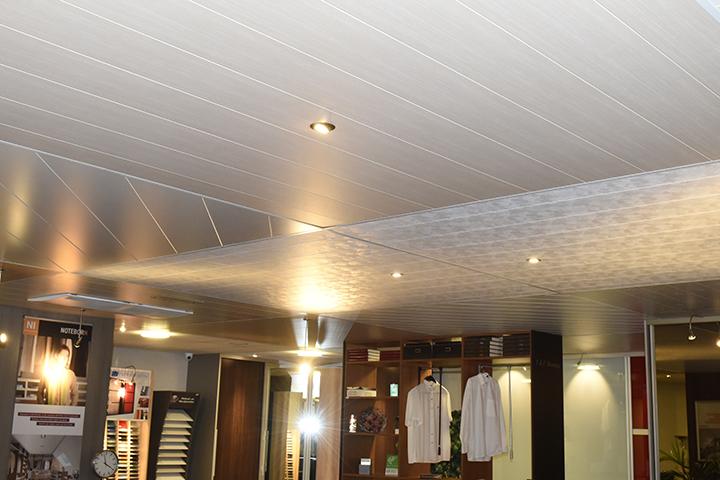 Panelenplafonds - Overzicht panelenplafonds met inbouwspots in de showroom