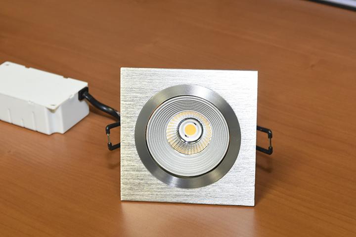 T & F Goirle - Vierkante LED spot vol aluminium (3 Watt, inclusief travo)